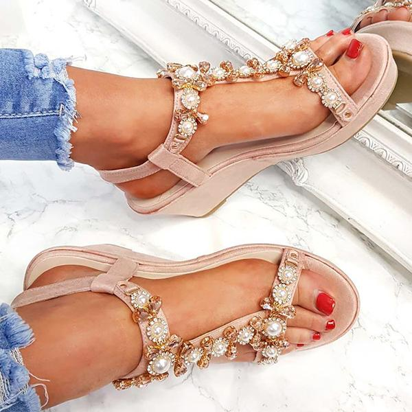 Remishoes Charlotte Embellished T-Bar Wedge Sandals