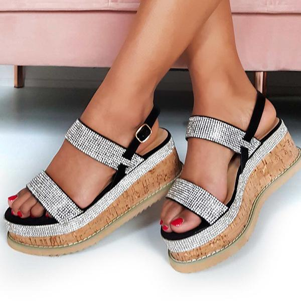 Remishoes Diamante Embellished Wedge Sandals