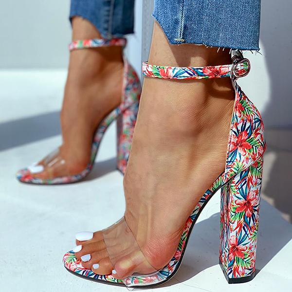Remishoes Transparent Strap Floral Print Heeled Sandals