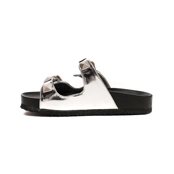 Remishoes Stylish Silver Double Buckle Slippers