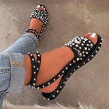 Remishoes Open Toe Buckle Casual Rivet Sandals