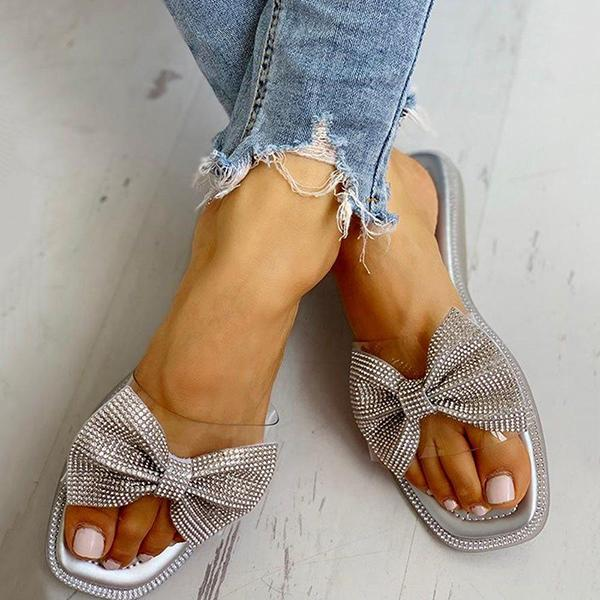 Remishoes Bow Slip-On Flat With Casual Slippers