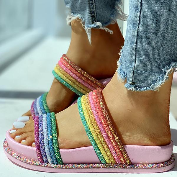 Remishoes Rainbow Striped Open Toe Flat Slippers