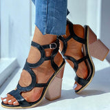 Remishoes Snakeskin Cut Out Chunky Heeled Sandals