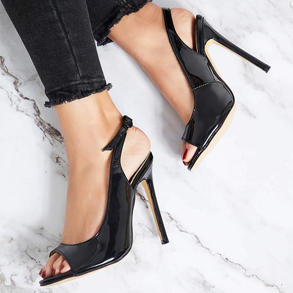 Remishoes Slingback strap Buckle Stiletto Heels Sandals