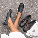 Remishoes Spring Retro Square Toe Flats Loafers