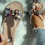 Remishoes Studded Bowknot Design Flat Slippers