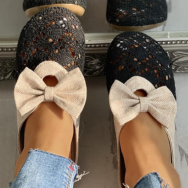 Remishoes Mule Lace Hollow Out Bowknot Flats Slippers