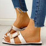 Remishoes Square Toe Buckled Flat Sandals