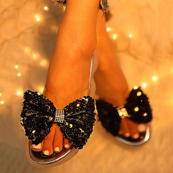 Remishoes Sequins Bowknot Design Casual Sandals