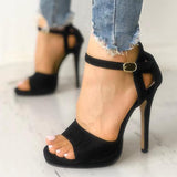 Remishoes Solid Suede Buckled Cutout Thin Heeeled Sandals