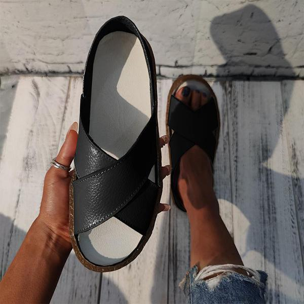 Remishoes Casual Cross-Strap Slip On Sandals