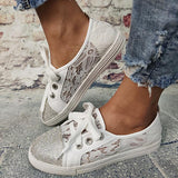 Remishoes Women Casual Rhinestones Skate Sneakers
