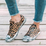 Remishoes Women Canvas Leopar Slip On Flat Heel Sneakers