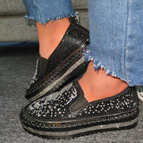 Remishoes Rhinestones Skull Hit Color Slip On Sneakers