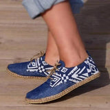 Remishoes Lace-Up Cloth Flat Round Toe Espadrille Loafers