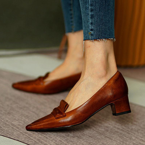 Remishoes Pointed Toe Leather Pumps Sandals