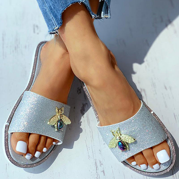 Remishoes Animal Pattern Glitter Flat Sandals