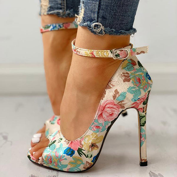 Remishoes Floral Peep Toe Ankle Strap Heeled Sandals