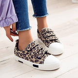 Remishoes Leopard Velcro Canvas Flat Sneakers