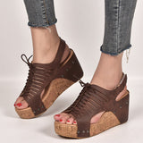 Remishoes Peep Toe Date Outdoor Wedge Sandals