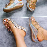 Remishoes Large Size Rivet Transparent Wedge Slippers