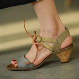 Remishoes Vintage Fashion Color Matching Chunky Heel Sandals