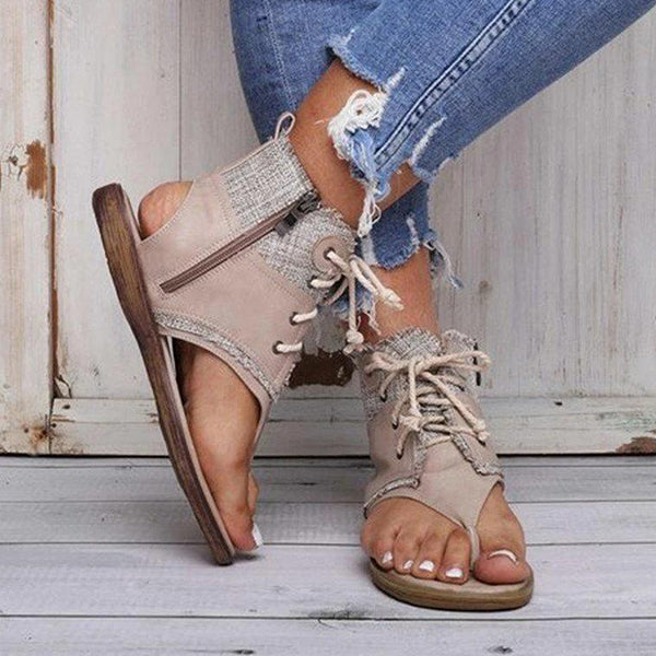 Remishoes Thong Zipper Casual Cross Strap Sandals