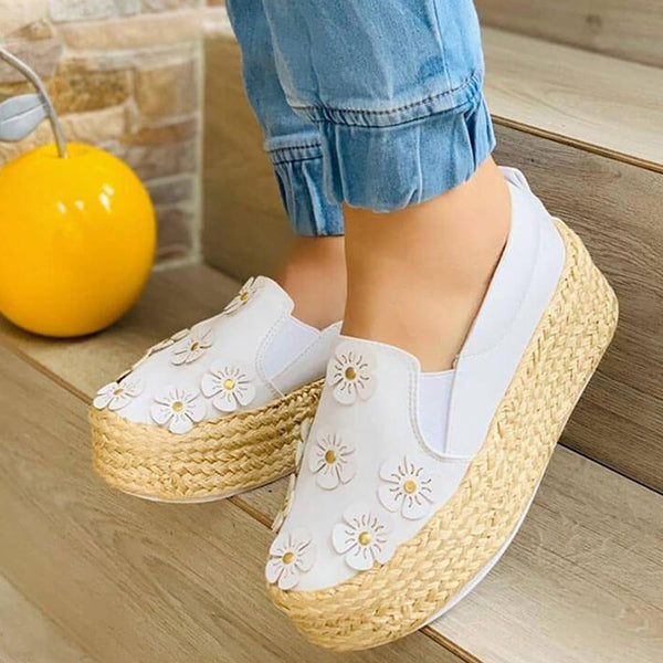 Remishoes Women Fashion Applique Slip On Creepers Platform Loafers