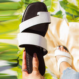 Remishoes Textured Toe Strap Flat Slippers