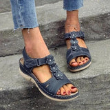 Remishoes Women Casual Summer Flower Comfy Wedge Sandals