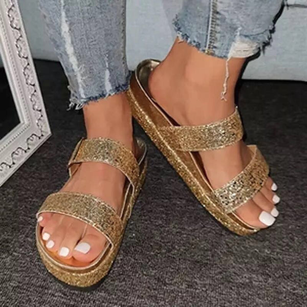 Remishoes Golden Rhinestone Summer Artificial Leather Block Heel Slippers