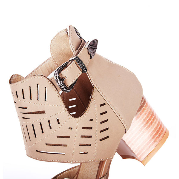 Remishoes Mostata Artificial Leather Chunky Heel Adjustable Buckle