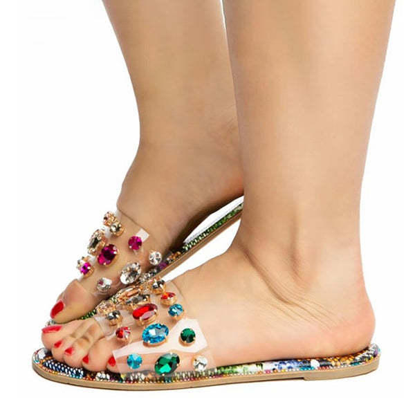 Remishoes Women Colored Diamonds Open Toe Slip On Flat Heel Slippers
