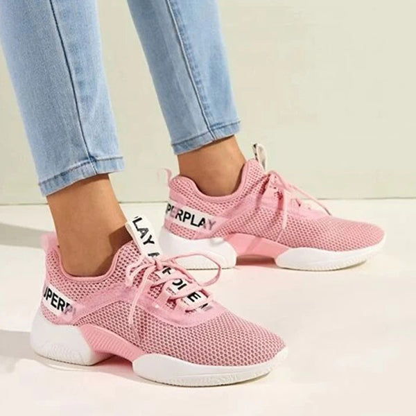Remishoes Women Fabric Alphabet Lace-up Platform Sneakers