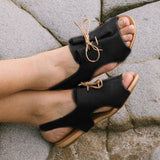 Remishoes Women Hollow-out Open Toe Elastic Band Flat Heel Sandals