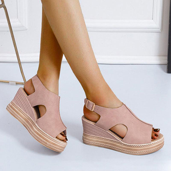 Remishoes Women Suede Hollow-out Peep Toe Buckle Strap Platform Heels