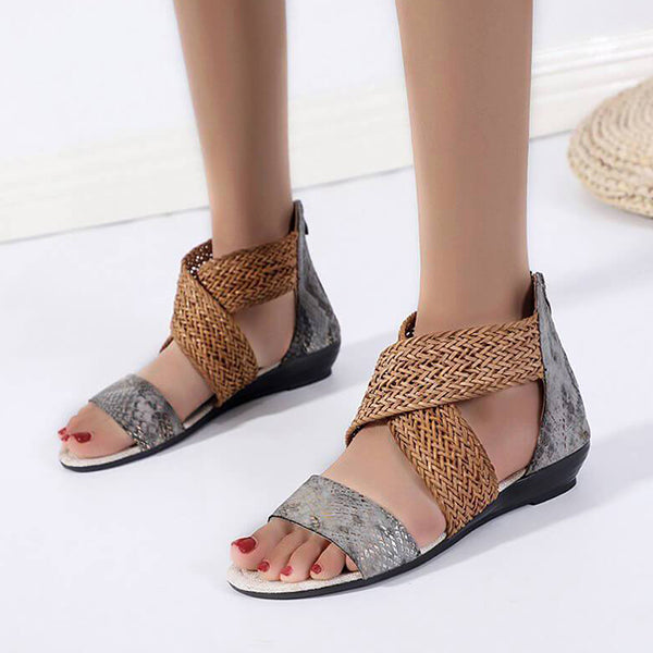 Remishoes Women Braided Snakeskin Zipper Open Toe Flat Heel Sandals
