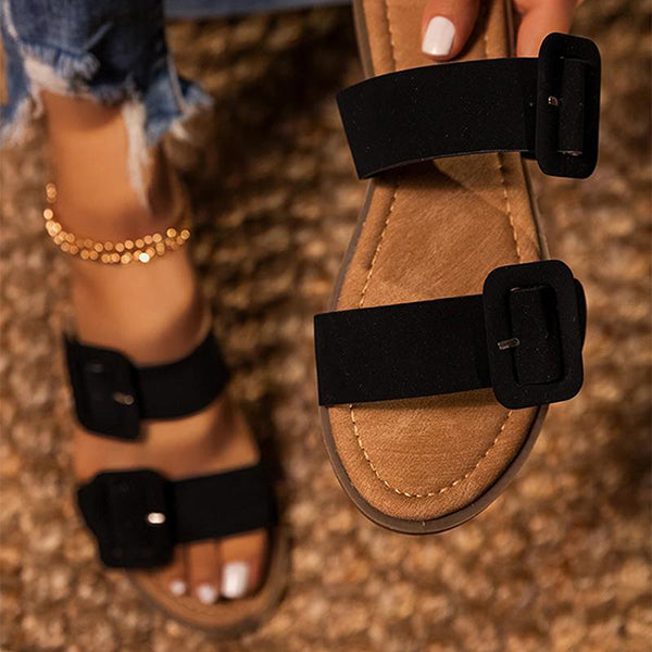Remishoes Double Buckle Strap Flat Slippers