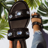 Remishoes Open-toe Double Horizontal Rhinestone Flat Sandals