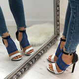 Remishoes Open Toe Hit Color Sexy Thin Heeled Sandals