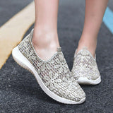 Remishoes Women Athletic Mesh Hollow-out Slip On Flat Heel Sneakers