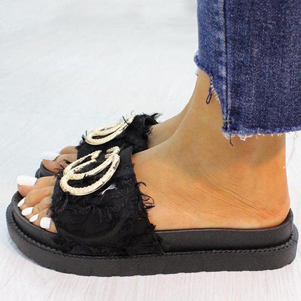 Remishoes Stylish Colorful Fluff Platform Comfy Slippers