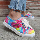 Remishoes Multicolor Tie-dye Zipper Lace-up Flat Heel Sneakers