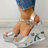 Remishoes Women Embroidery Flower Open Toe Buckle Strap Wedge Heel Sandals