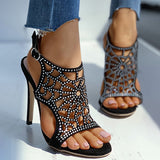 Remishoes Studded Hollow Out Ankle Strap Stiletto Heels