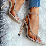 Remishoes Studded Transparent Detail Stiletto Heels