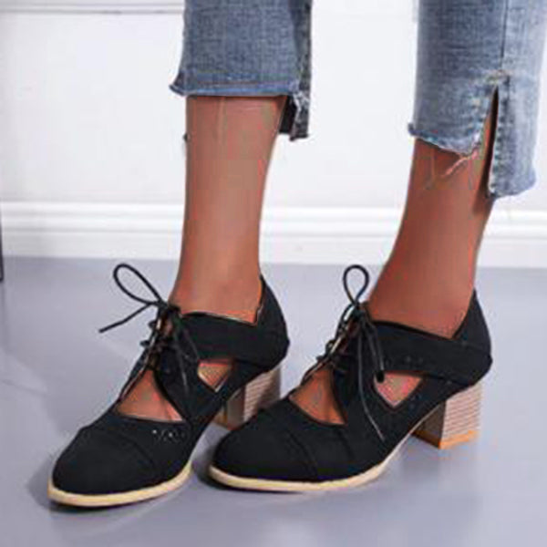 Remishoes Hollow Low Square Heels Designer Flats