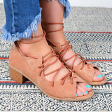 Remishoes Cross Strap Peep Toe Lace Up Sandals Chunky Heels