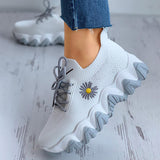 Remishoes Daisy Pattern Lace-up Breathable Casual Platform Sneakers